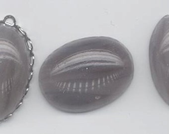 Two rare vintage Japanese Cherry Brand glass cabochons - swirled muted light purple - 25 x 18 mm