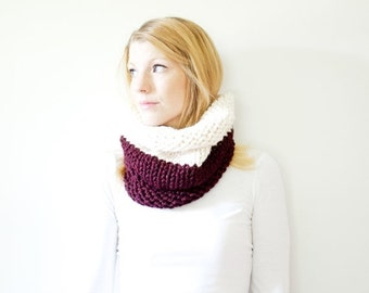 WINTER SALE the SOLOMON cowl - knit cowl scarf chunky scarf - color block - claret / fisherman