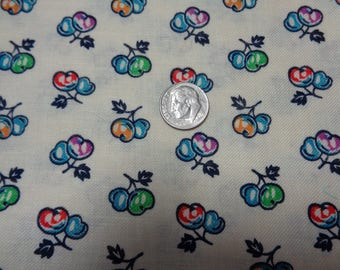 """100% Cotton Vintage Fruit Fabric -42"""" x 44""""- Apparel Fabric--Quilting Fabric"""