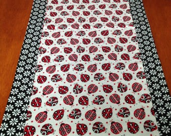 Lady Bug Red, Black and White Double Sided 14x42 Inch Table Runner