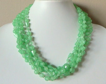 Funky & Bold 1960's Mint Green Multi Strand Plastic Bead Necklace- Lightweight Flower Pastel Retro Mod Mid Century Spring Summer