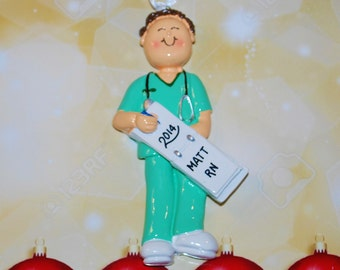 Personalized Male Doctor Physician Nurse Green Scrubs Christmas Ornament