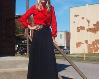 Vintage Black Maxi Skirt Boho Hippie Fashion Long Black Skirt
