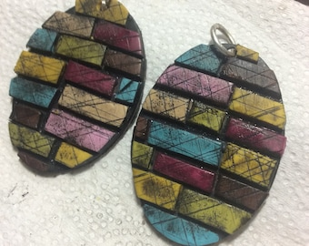 Mosaic Polymer Clay Disc Earrings Silver hooks Original Design layered colors