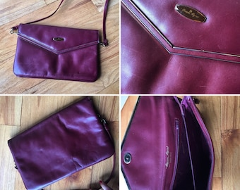 Vintage oxblood Etienne Aigner clutch crossbody bag purse large