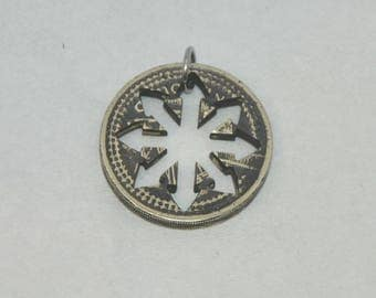 Chaos sign. Coin cut gunmetal pendant necklace charm. Upcycled british pound coin.