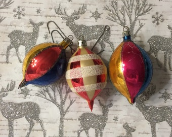 Vintage Glass Indent Ornaments from Poland Set of Three Multi-Colored Vintage Glass Ornaments, Vintage Christmas Decor  Glass Teardrop