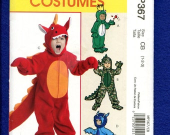 McCalls 367 Little Kids Monsters Costumes Pattern Size 1..2..3