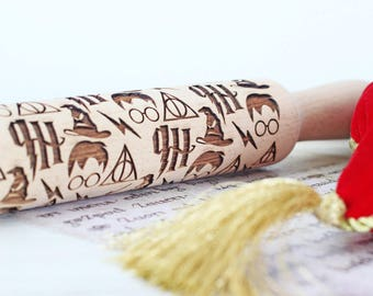 Harry Potter rolling pin - Embossed Rolling Pin - Laser Engraved Rolling pin Harry Potter
