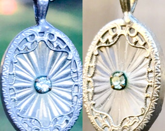 Antique 1920s Camphor Glass Diamond Necklace