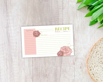Peony Recipe Card, Printable Template, Instant Digital Download, 3x5