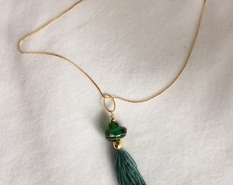Green with red design Lampwork glass bead, GF bead, green crystal, green silk tassel pendant with chain - Sale