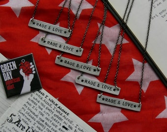 RAGE & LOVE // hand-stamped green day necklace. american idiot.