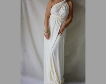 Infinity Wedding Bohemian Maxi Gown Wrap Convertible Wedding Dress Plus Size Maternity Wedding Dress Made to Measure Weddung Gown Ivory