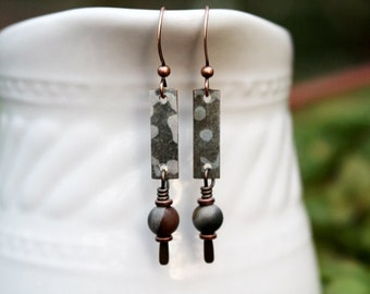Gray Mixed Media Earrings, Mixed Media Jewelry, Brown, Beaded Jewelry, Gemstone, Bohemian Earrings, Recycled Repurposed