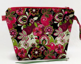Medium Wide-Mouth Wedge Bag - Angie's Hot Pink and Black Floral