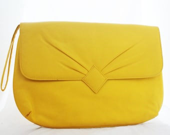 Clutch - Mustard Yellow Large Oversize Faux Leather Wristlet with strap