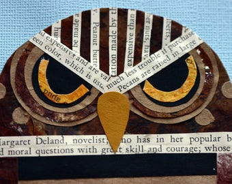 Burrowing brown owl, original cur paper, collage, children's art, nursery art, bird, brown, whimsical, printed page, yellow eyes, spotted