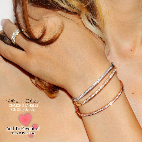 Diamond Bangles 14K Gold and Diamonds Handmade- Custom Made Premium Metal smith, Amazing Price, Engagement, Bridal, Push goft -1 Bangles