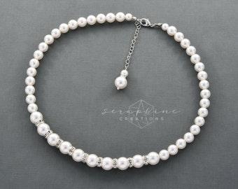 Bridal Pearl Necklace Wedding Jewelry Bridal Necklace Swarovski Pearl Wedding Pearl Necklace Rhinestone Classic Bridesmaid Gift Laelia N21