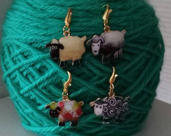 Sheep Progress Keepers Set 4-Project Bag Zipper Charm-Purse Charm-Stitch Marker-Enamel Knitting/Crochet Marker-Sheep Charm