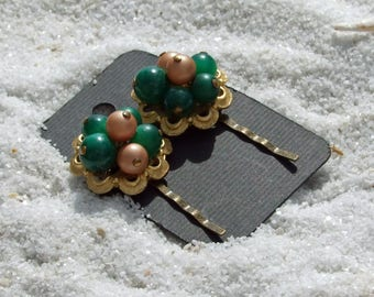 Hair Pins, Wedding Bobby Pins, Vintage Earrings, Vintage Bobby Pins, Beaded Hair Pins, Green Bobby Pins, Hair Accessories