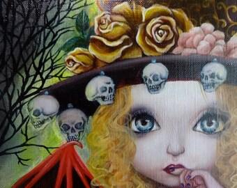 "Original Small Painting ""Nemesis"" Girl Skull"