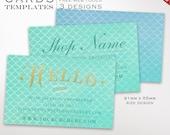 Mermaid Business Card Template - Business Card Design Template - DIY Printable Business Card Template Design Japanese BCIN AAB