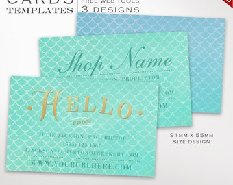Mermaid Business Card Template - Business Card Design Template - DIY Printable Business Card Template Design Japanese BCIN AAB
