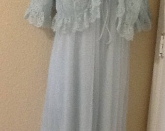 Lisette 2 piece short nighty &  lace bed jacket light blue lingerie