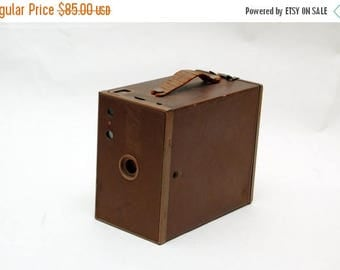FATHERS DAY SALE Vintage / Antique Kodak Brownie Box Camera Unique Brown color. Another great display piece.