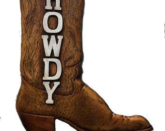 Howdy Cowboy Boot Personalized Sign