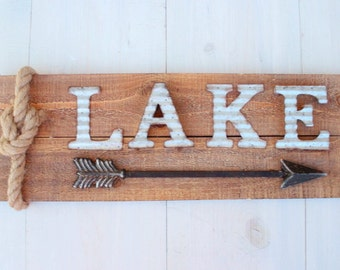 Lake House Sign Arrow Sign Corrugated Rustic Wood Home Decor Custom Arrow Color