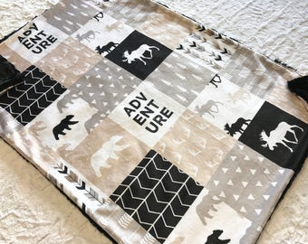 Adventure Minky Baby Blanket, Camping Bear Quilt, Woodland Deer Moose Baby Blanket, Baby Shower Gift, Black Neutrals Bear Baby Blanket