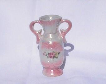 Miniature Vintage Pink Urn Vase. Porcelain vase made by WBI. Chinese vase.