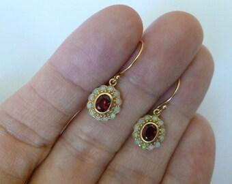 Vintage Garnet Earrings, Antique Solid Gold 9ct 9k, 14k, 18k Antique Opal Earrings, Garnet Opal Drop, Womens Victorian Earrings, Custom E30