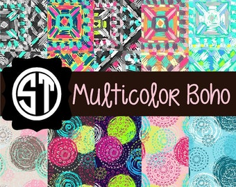 Multicolor Boho Patterns Vinyl (Indoor, Outdoor,  Glitter vinyl , HTV iron on, Glitter HTV) Lamination available Mask not included
