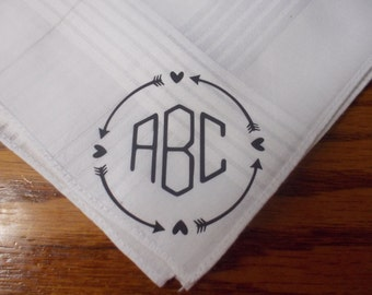 Monogram Tribal Mens Wedding Handkerchief