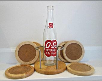 Sale, Vintage Wood Coaster Set, Light Wood And Cork, Set Of Six, Wood And Metal Caddy