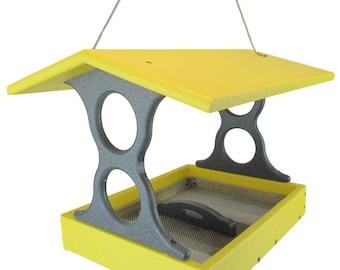 JCs Wildlife Medium Yellow/Gray Poly Fly-Thru Bird Feeder w/ Removable Seed Tray