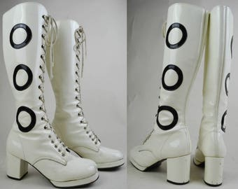 90s Does 60s White Patent Black Circles Lace Up Knee High Go Go Mod Boots UK 6 / US 8.5 / EU 39