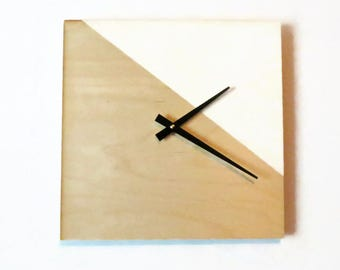 Large Wood Wall Clock, Modern Home Decor, Minimalist Art,  White and Wood Clock,  Home and Living, Decor and Housewares