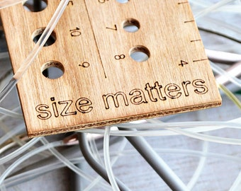 size matters knitting gauge, wooden knitting needle gauge, cherry wood, knitting notions, gift for knitters