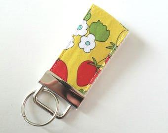 Mini Strawberry Key Fob  - Fabric Wristilet - Cotton amd Steele Fabric