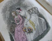 Antique Book, Journal des Demoiselles,French, 1860 ish Complete with 12 Hand Coloured Fashion Plates.