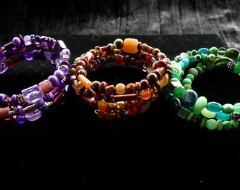 One Color Gemstone and Glass Three Wrap Memory Wire Braceelets