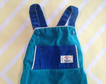 vintage teal and blue overalls by healthtex with 'physical fitness' wording size 6-9-12 months