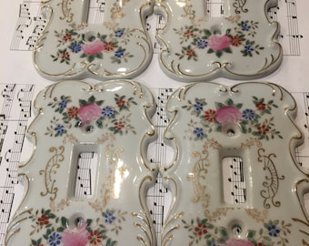 Vintage Victorian Ceramic Light Switchplates , Shabby Chic Cottage Light Switch Cover, Floral Switchplate