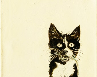 Cat Painting canvas- acrylic transfer of original ink illustration original art