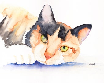 calico cat, calico kitten, cat watercolor, kitten painting, kitten print, cat canvas, orange cat, kitchen art, gift for her, cat lover,